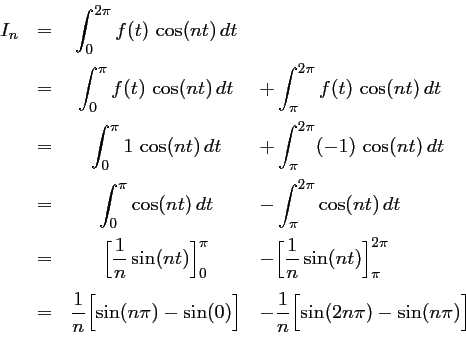 Calculs Pour Les Series De Fourier